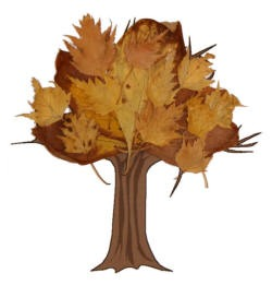 Fall tree craft with real fall leaves