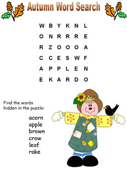 autumn word search puzzles